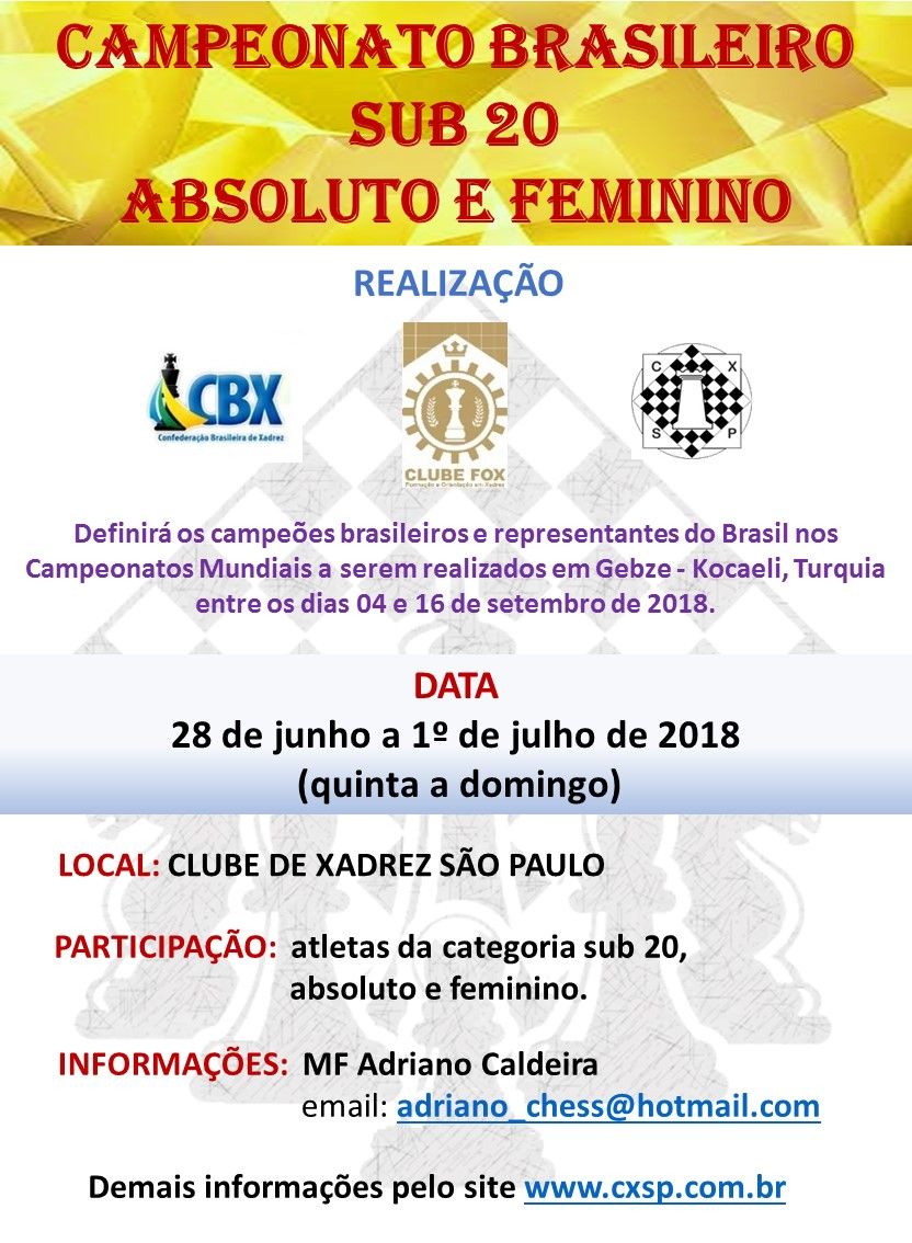 CAMP. BRASILEIRO SUB 20 – ABSOLUTO e FEMININO