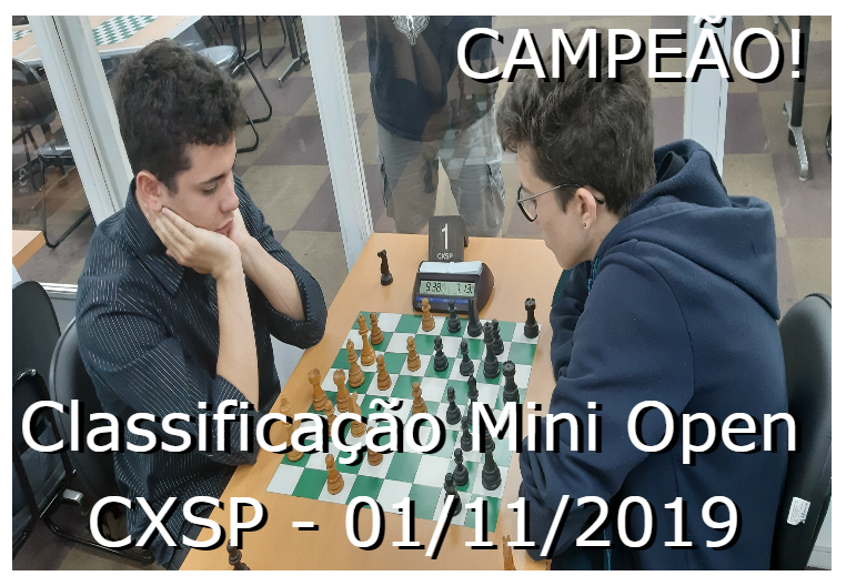 Classificação Mini Open CXSP – 01/11/2019
