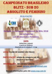 BRASILEIRO DE BLITZ SUB 20  ABSOLUTO E FEMININO